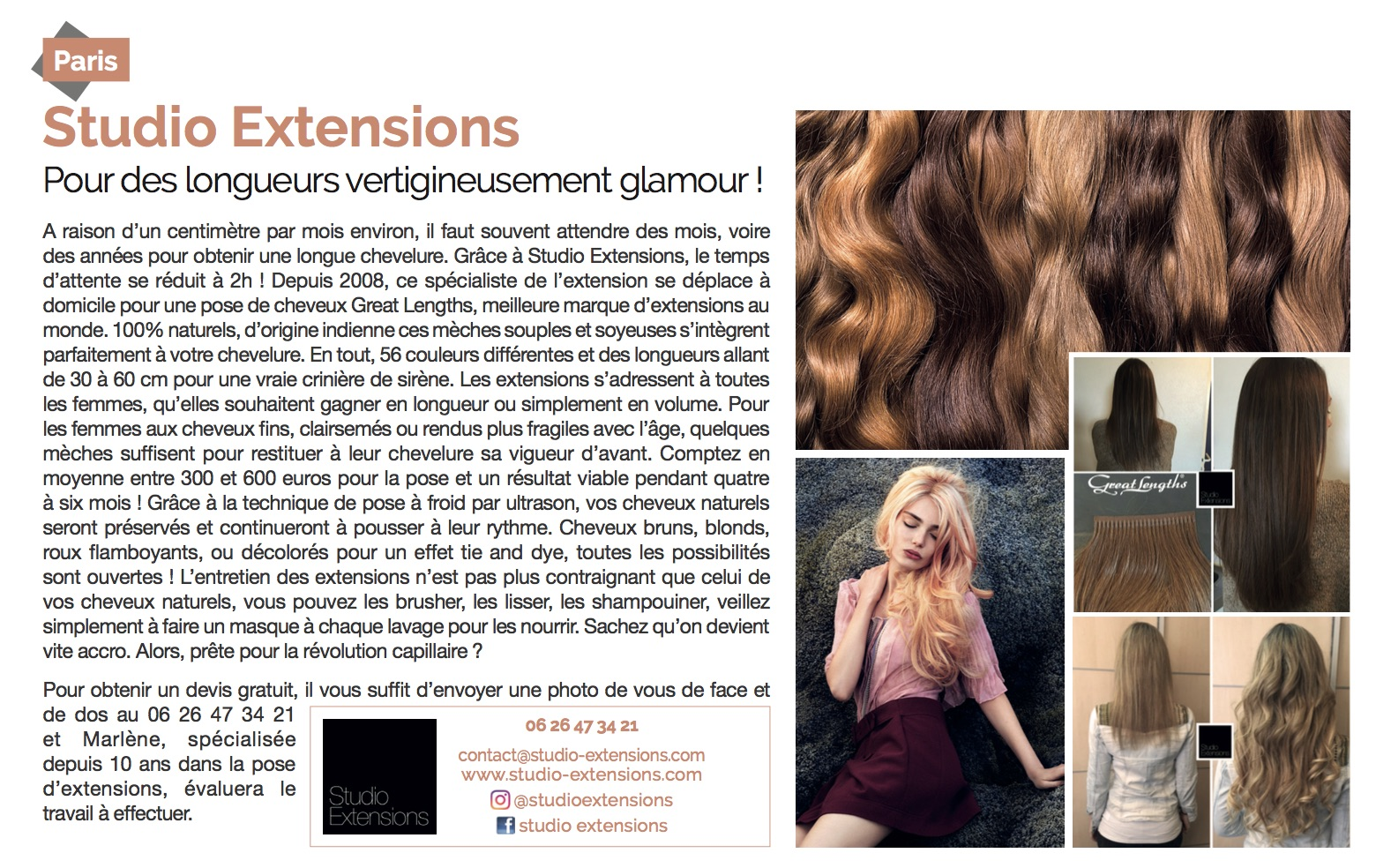 Studio extensions magazine Voici