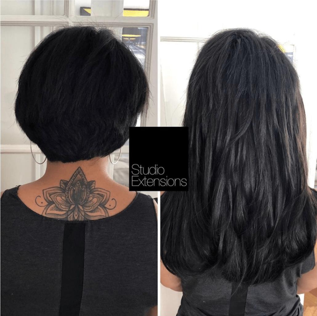 Avant Après extensions cheveux courts