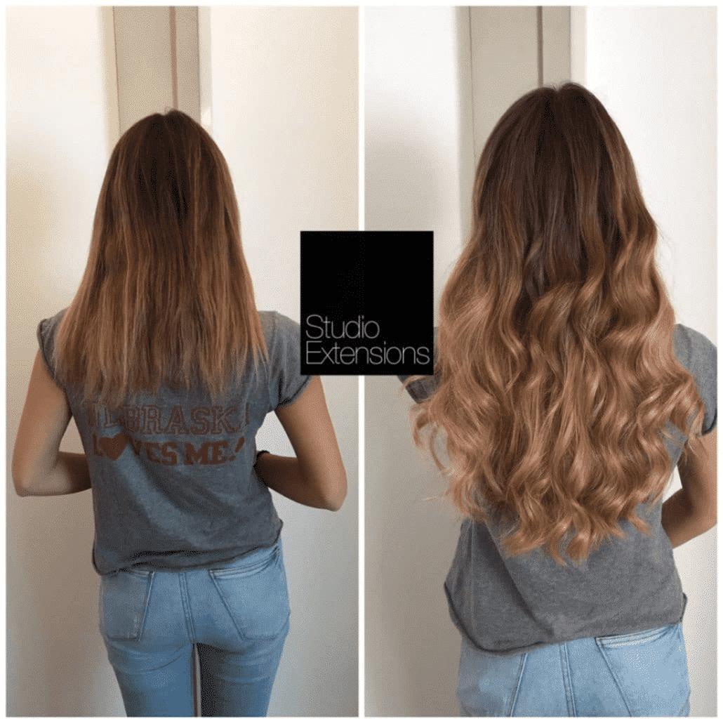 Extensions de cheveux et teinture avant et aprГЁs